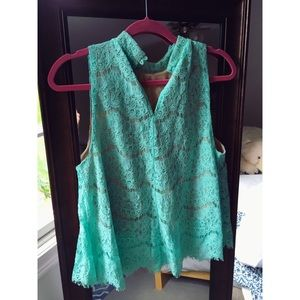 love, Fire Tops - Mint Lace Sleeveless Top